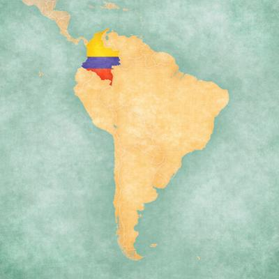Map of South America - Colombia (Vintage Series) by Tindo