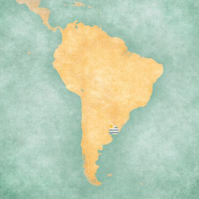 Map of South America - Uruguay (Vintage Series) by Tindo