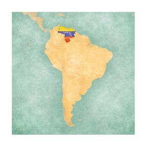 Map Of South America - Venezuela (Vintage Series) by Tindo