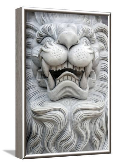 Tinh Xa Ngoc Chau Buddhist temple, Imperial guardian lion statue, Chau Doc-Godong-Framed Photographic Print