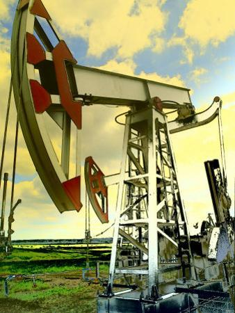 Tinted View of Oil Wells Against the Blue Sky