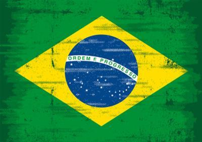 Brazilian Grunge Flag. A Flag Of Brazil With A Texture