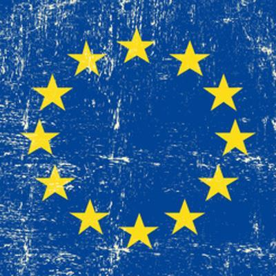 European Grunge Flag. A Square Flag Of European Union With A Texture