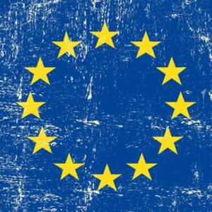 European Grunge Flag. A Square Flag Of European Union With A Texture by TINTIN75