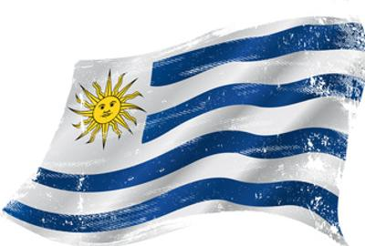 Flag of Uruguay in the Wind with a Texture
