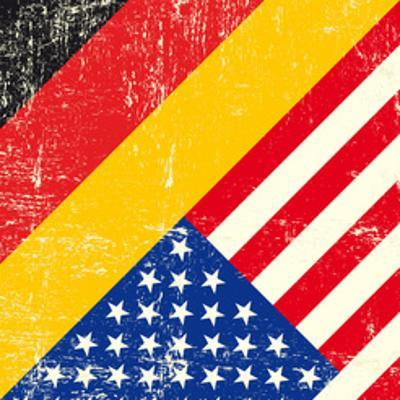 Usa And German Grunge Flag. This Flag Represents The Relationship Between Germany And The Usa
