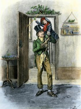 Tiny Tim Carried in Celebration, from Dickens' a Christmas Carol