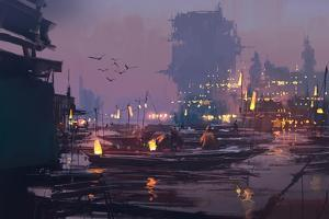 Boats in Harbor of Futuristic City,Evening Scene,Illustration Painting by Tithi Luadthong