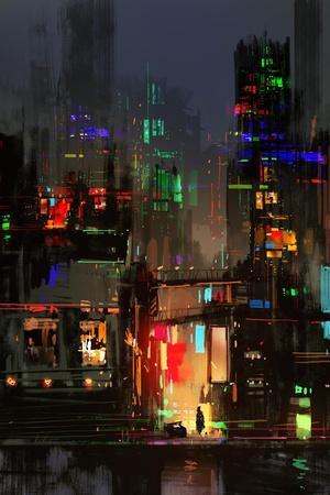 Cityscape Digital Painting of Building at Night