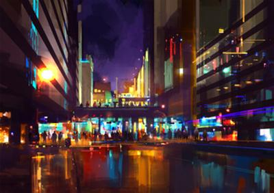 Crowds of People at a Busy Crossing in the Night with Neon Lights,Digital Painting