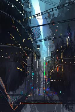 Futuristic Floating City,Landscape Digital Painting,Illustration by Tithi Luadthong