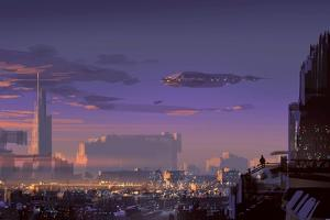 Landscape Digital Painting of Sci-Fi City,Illustration Art by Tithi Luadthong