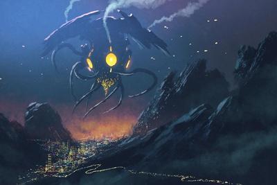 Sci-Fi Scene of the Alien Ship Invading Night City,Illustration Painting