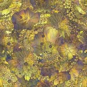 Seamless Pattern of Colorful Flowers and Leaves with Texture,Floral Illustration by Tithi Luadthong