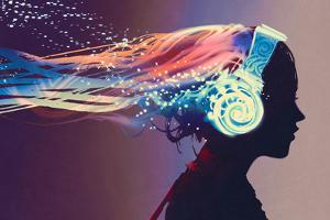 Woman with Magic Glowing Headphones on Dark Background,Illustration Painting by Tithi Luadthong
