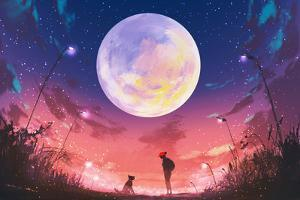 Young Woman and Dog at Beautiful Night with Huge Moon Above,Illustration Painting by Tithi Luadthong