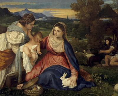 Madonna and Child with St. Catherine, (The Virgin with the Rabbit) by Titian (Tiziano Vecelli)