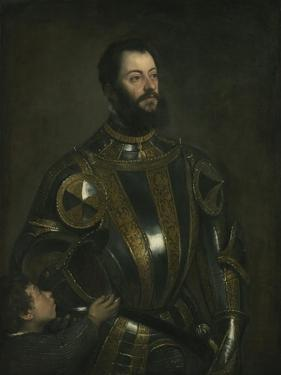 Portrait of Alfonso D'Avalos, Marchese Del Vasto, in Armor with a Page, 1533 by Titian (Tiziano Vecelli)