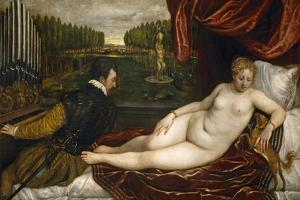 Venus, an Organist and a Little Dog by Titian (Tiziano Vecelli)