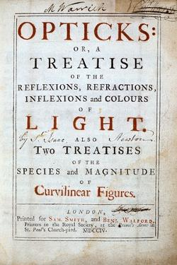 Title Page of Opticks by English Scientist and Mathematician Isaac Newton, 1794