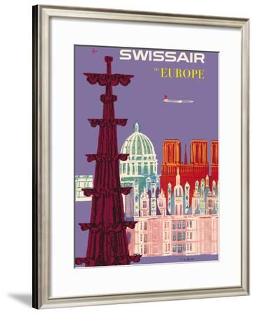 To Europe - Swissair - Switzerland - Cathedrals-Fritz Bühler-Framed Giclee Print