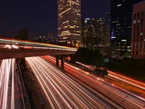 Dramatic Freeway Light Trails in Los Angeles California by tobkatrina