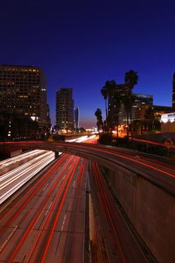 Timelapsed Traffic in Downtown Los Angeles at Night by tobkatrina