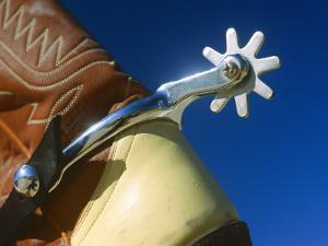 A Close-up of a Shiny Silver Spur on the Back of a Cowboy Boot by Todd Gipstein
