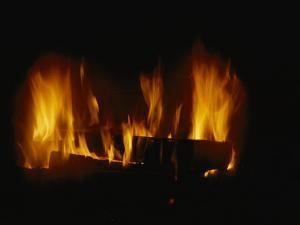 A Log Fire in a Fireplace by Todd Gipstein