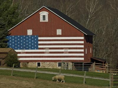 American Flag Painted on the Side of a Barn by Todd Gipstein
