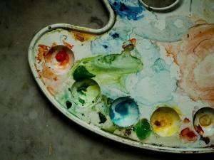 Artist's Palette Smeared with Used Water Color Paints by Todd Gipstein