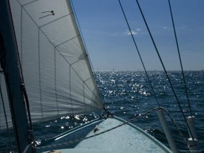 Bow of a Sailboat under Sail on the Thames River by Todd Gipstein