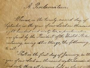 Close-up of a Copy of the Emancipation Proclamation by Todd Gipstein