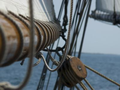 Close Up View of a Mast and Block of a Tall Ship