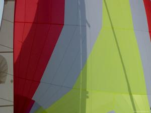 Close View of the Colorful Sails of a Sailboat, Groton, Connecticut by Todd Gipstein