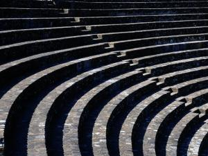 Curved Stone Seating at One of Two Roman Theaters in Lyon by Todd Gipstein