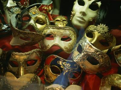 Display of Venetian Masks in a Shop Window by Todd Gipstein