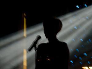 Female Singer and Microphone Silhouetted with Stage Lights by Todd Gipstein