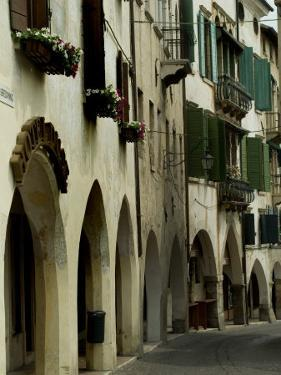 Narrow Road Lined by Shuttered Windows, Asolo, Italy by Todd Gipstein