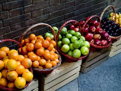 Six Baskets of Assorted Fresh Fruit for Sale at a Siena Market, Tuscany, Italy