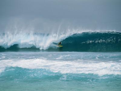 Surfer in the Crest of a Wave in the Bonsai Pipeline in Oahu