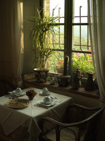 Table is Set for Breakfast near a Window Looking Out on Tuscan Hills, Tuscany, Italy by Todd Gipstein