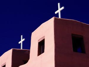 View of the Shadowed Walls of an Adobe Church in Chimayo by Todd Gipstein