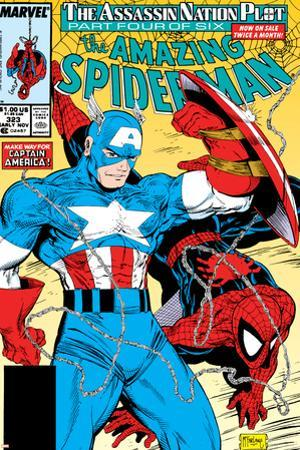 Amazing Spider-Man No.323 Cover: Captain America and Spider-Man