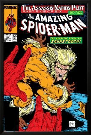 Amazing Spider-Man No.324 Cover: Sabretooth and Spider-Man