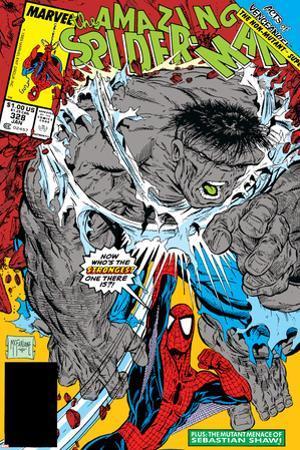 Amazing Spider-Man No.328 Cover: Hulk and Spider-Man Crouching