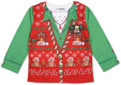 Toddler Girls Long Sleeve: Ugly Xmas Vest Costume Tee