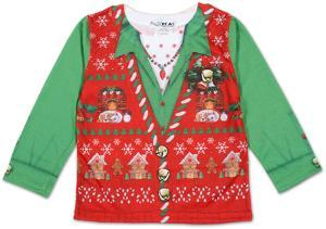 Toddler Girls Long Sleeve: Ugly Xmas Vest Costume Tee