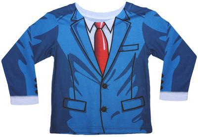 Toddler Long Sleeve:  Cartoon Suit Costume Tee (Front/Back)