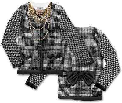 Toddler Long Sleeve:  Houndstooth Jacket Costume Tee (Front/Back)